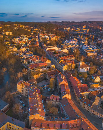 top aerial view of Vilnius old city Imagens