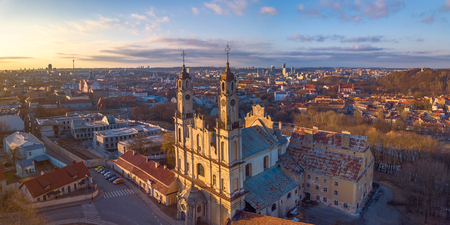 aerial view Misionieriai church in Lithuania Imagens