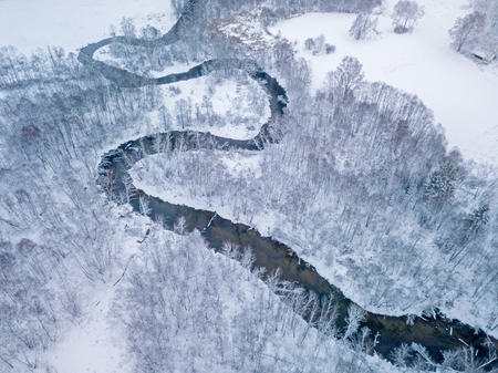 Aerial view of small river in winter day Imagens