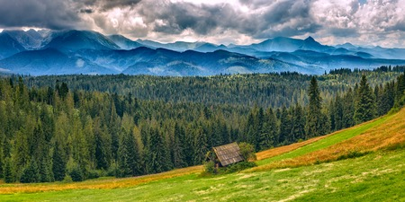 Panoramic landscape in European mountains, High Tatras, Malopolskie Poland