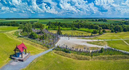 Aerial panoramic view of Hill of Crosses KRYZIU KALNAS . It is a famous religious site of catholic pilgrimage in Lithuania Imagens