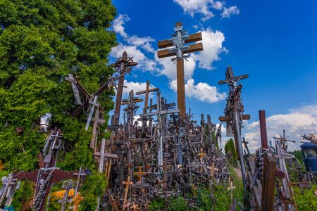 Landscape of Hill of crosses, Kryziu kalnas, Lithuania Фото со стока