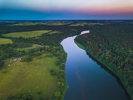 Aerial view of Nemunas river in Lithuania Banque d'images