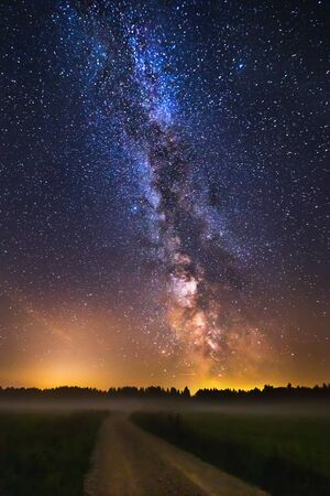 Landscape with Milky way galaxy in Lithuania Reklamní fotografie