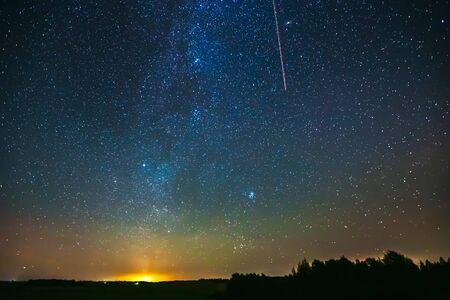 Starry sky with light Aurora borealis lights
