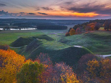 Kernave, historical capital city of Lithuania, aerial view Reklamní fotografie