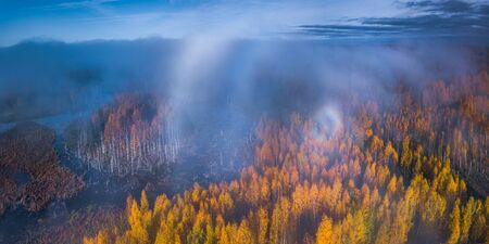 Aerial view of Gloria and a fog halo, Autumn panorama in Lithuania
