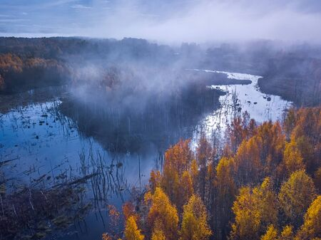 Aerial view of dreamy foggy autumn landscape, Lithuania