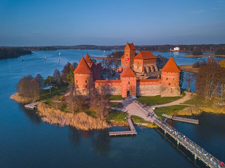 Beautiful drone landscape image of Trakai castle Фото со стока