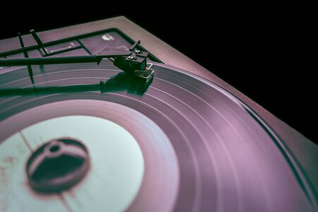 Old gramophone with Vynil disc playing music Stock Photo
