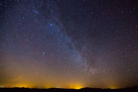 Landscape with Milky way galaxy in Lithuania