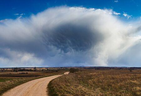 Cumulonimbus storm clouds with mammatus clouds beautiful landscape Reklamní fotografie