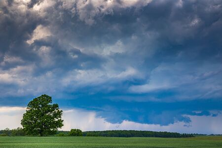 Supercell storm clouds with wall cloud and intense rain Archivio Fotografico