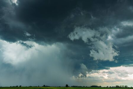 Supercell storm clouds with intense rain and hail Reklamní fotografie