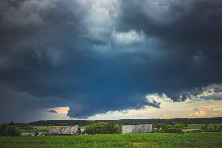 Severe supercell storm clouds with wall cloud and intense rain Banco de Imagens - 150082746