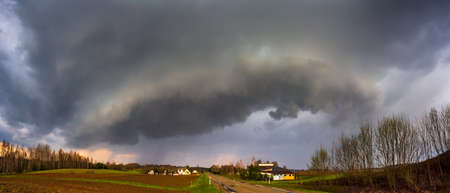 Severe thunderstorm clouds, landscape with storm