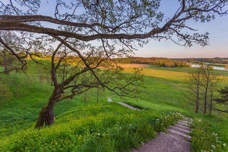 Lithuanian historic capital Kernave, green landscape of Kernave mounds