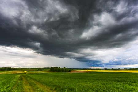 Severe thunderstorm clouds, landscape with storm clouds Banco de Imagens