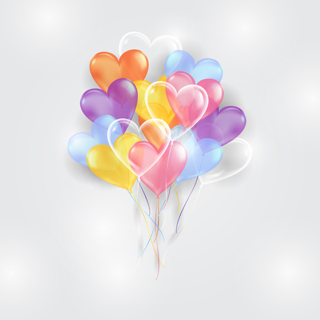 Kolorowe balony tło w kształcie serca