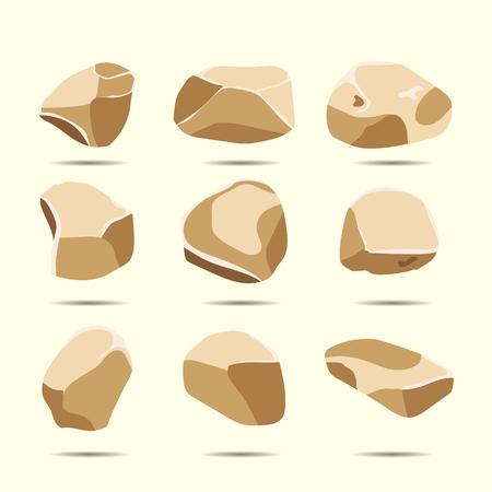 Ilustración plana de dibujos animados un conjunto de piedras de roca