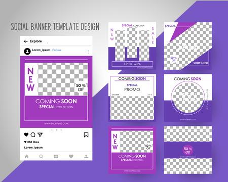 Bannières de médias sociaux modifiables pour le marketing numérique. Couleur Rose Vert. Promo Marque Mode. Illustration vectorielle