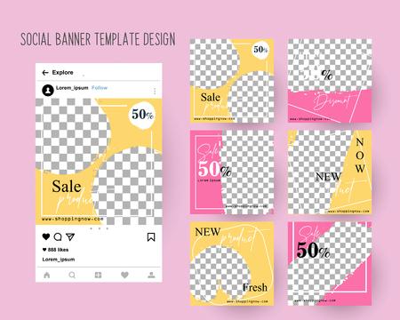 Bearbeitbare Social-Media-Banner für Postvorlagen für digitales Marketing. Farbe Rosa Grün. Promo-Markenmode. Vektorillustration