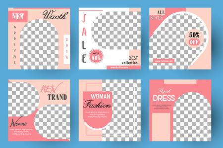 Editable Post Template Social Media Banners for Digital Marketing. Color Pink Green. Promo Brand Fashion. Vector Illustration