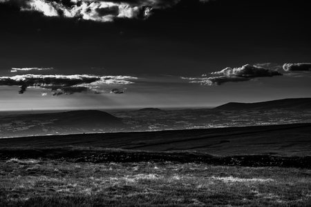 Scenic view from Pendle Hill on Lancashire Hills. West. Forest Of Bowland. West Pennine Moors. Lancashire, England, UK