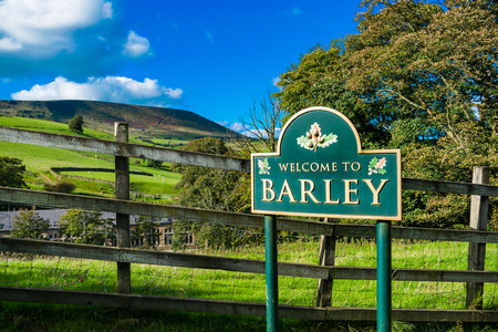 Welcome road sign in Barley, Lancashire, England UK