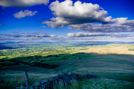 Scenic view at farms on summer. Forest Of Bowland , Lancashire, England UK Stock Photo