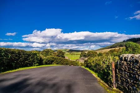 English countryside road on summer, Lancashire, Forest Of Bowland, England UK