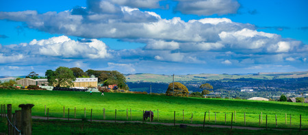 Summer time farms in  Lancashire, Forest Of Bowland, England UK Stock Photo