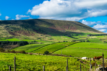 Scenic view on Pendle Hill on summer. Forest Of Bowland , Lancashire, England UK