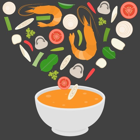 Thai cuisine Tom-Yam-Kung Spicy Thai shrimp soup Stock Vector - 53934395