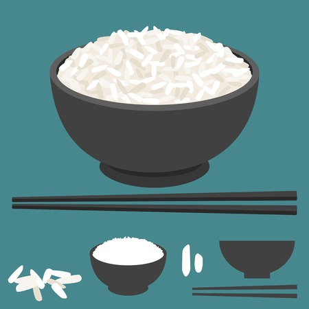 Rice in bowl with chopsticks Vectores
