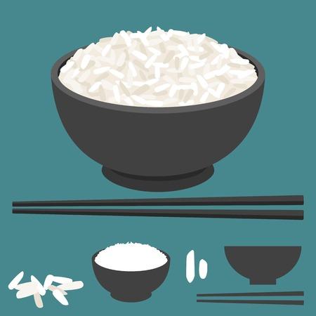 Reis in der Schüssel mit Ess-Stäbchen