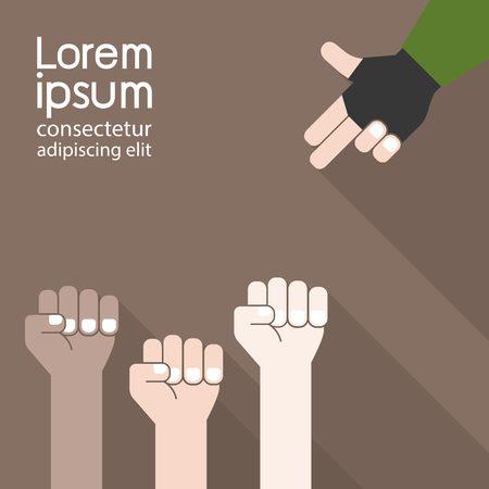 boycott: Concept idea ,fist and finger gun.