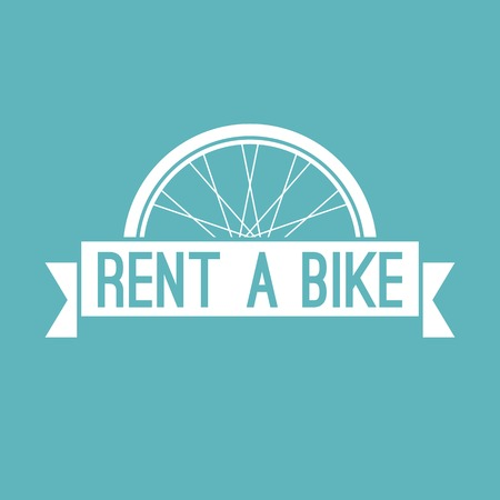 rent: Vector rent a bike in retro style