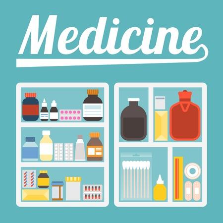 paracetamol: Vector illustration of medicine cupboard