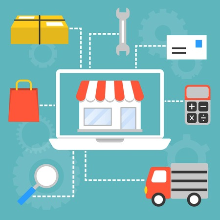 e commerce: Vector set of concept for marketing and shopping online in e commerce