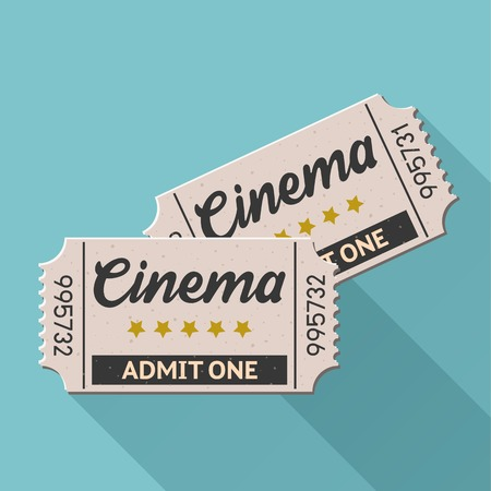 movie theater: Vector movie ticket vintage retro style set 4