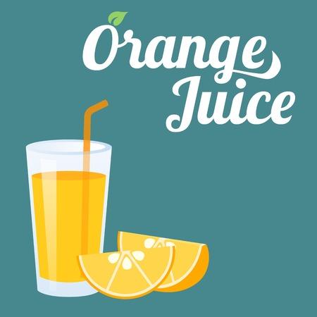 naranja: jugo de naranja y una rodaja de naranja vector Vectores