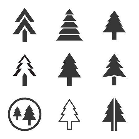 environmen: Pine tree vector icons set