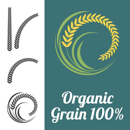 grain field: Vector rice sign