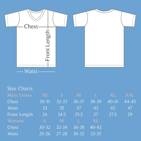 t shirt template: Vector T shirt template back and front with size chart for man and woman