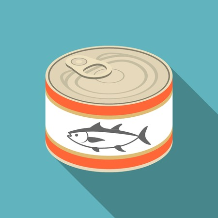 tinned: vector canned  tuna,flat design