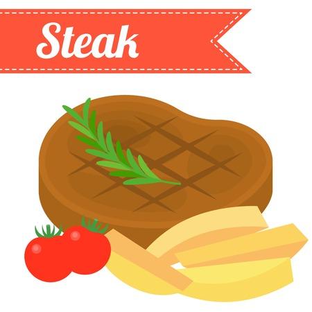 no gradient: Vector steak,flat design,no gradient