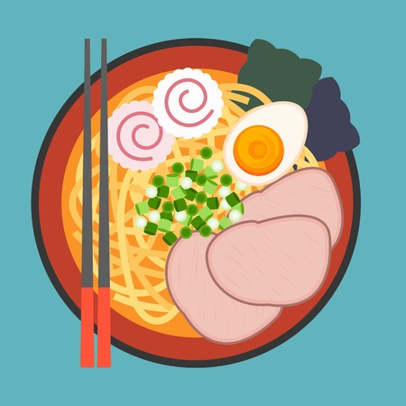 noodles: vector Japanese noodle Ramen,flat design,no gradient