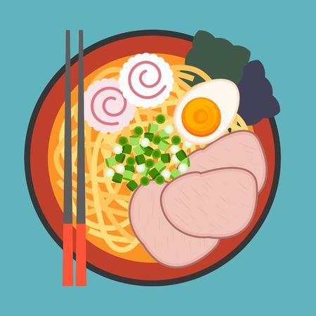 noodles: vector Japanese noodle Ramen,flat design,no gradient