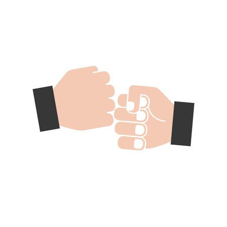 hand bumping icon, flat design